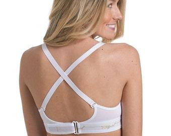 32C White Bralette, White Sports Bra, Workout Bra, Yoga Bra, Comfortable Sleep Bra, Supportive Bralette, Adjustable Bralette, Cross Back Bra