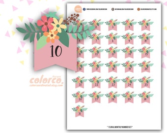 Spring FLORAL Date Covers numbers Printable Planner Stickers Erin Condren Happy Planner Inkwell Plum Paper Instant Digital Download