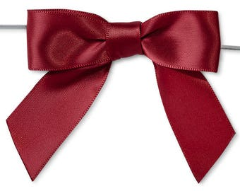 "Scarlett 3"" Pre-Tied Satin Bows with 5"" Twist Ties~ 7/8"" ribbon- Pack of 6"