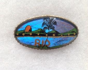 """Vintage butterfly wing scene of Rio de Janeiro pin. 2"""" long."""