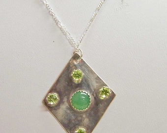 Sterling Silver Pendant with Aventurine and Peridot