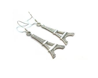 Eiffel Tower  Charm Earrings  ,  Silver Charms , Sterling Silver Ear Wires , I Love Paris Charm  Earrings , Gift For Her