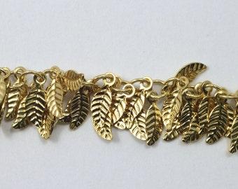 Bright Gold, 4mm x 6mm Leaf Chain #CC158