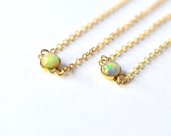 Lux Welo Opal Gemstone/ Delicate Necklace/Gemstone Necklace/ Gold Fill/ Sterling Silver