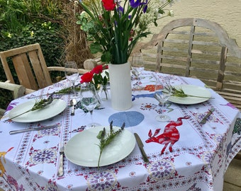 Hare tablecloth Cotton tablecloth printed tablecloth Designer Rabbot table linen by MollyMac - Contemporary design for dinner parties