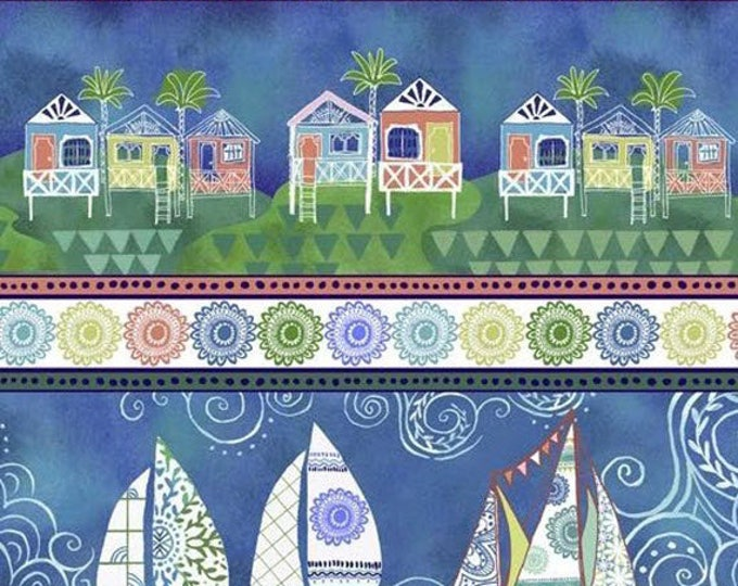 DREAM BOATS - Sailboat Border Stripe in Ocean Blue - Sailboats Boats Boat Cotton Quilt Fabric - Quilting Treasures Fabrics - 24343-W (W4058)