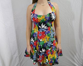 Colorful Floral Halter Dress