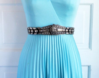 Vintage Disco Dress-Light Blue