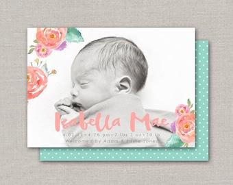 Baby Girl Birth Announcement - Isabella