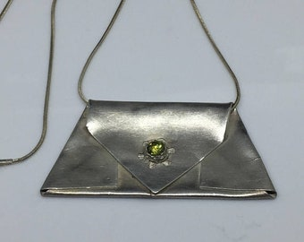 Tatiana Sterling and Pewter Olivine Crystal Necklace
