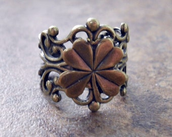 Lucky Shamrock Ring in Antiqued Brass EXCLUSIVE DESIGN