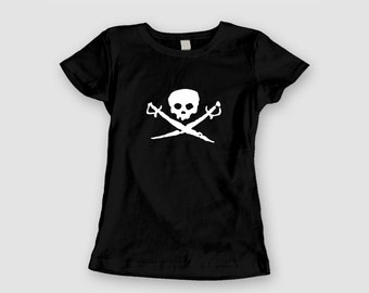 Ladies Baby Doll Tee - Skull and Swords