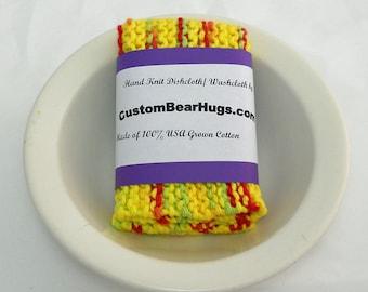 Large Cotton Dishcloth/ Washcloth, Hand Knit in Yellow, Make Your Own Custom Set, Housewarming Gift, Wedding Gift, Baby Gift