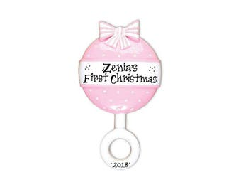 Pink Baby Rattle Personalized Christmas Ornament / Baby's 1st / Baby's First / Baby Girl / Hand Personalized