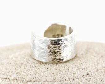 Ear Cuff, Sterling Silver, Textured Silver, Hand forged metal jewelry, Silver Ear Cuff, Sterling Silver, wide ear cuff