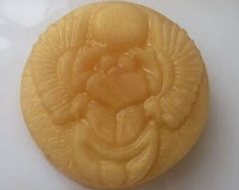 Egyptian Golden Scarab Goat Milk Glycerin Soap in Frankincense & Myrrh EO Handcrafted Low Sweat Detergent Free