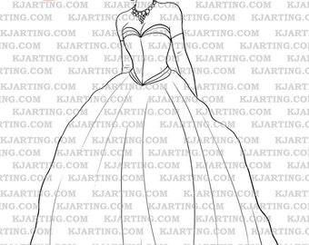 Evening Gown Digi-Stamp (Line_Art Printable_00098 KJArting)