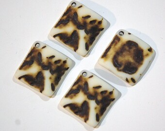 Vintage Matte Brown on Soft White Etched Square Wavy Acrylic Pendants 20mm (4) pnd149G