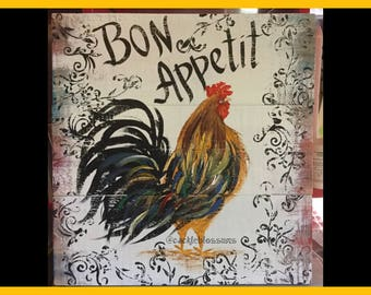 "16"" X 16"" #605 Rooster Art on Rustic Wood sign Original Art"