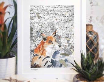 Fox Print, Country Fox, Animal Drawing,British Wildlife, Wall Art, Wild, Frame,Colourful Illustration,Animal Art,Watercolour, Childs Nursery