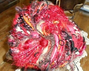 """Handspun yarn: mohair, Merino fibres fantasy """"Fuego""""."""