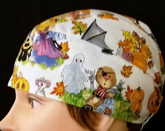 Suzy's Zoo Pumpkin Patch Chemo Cap, Skull Cap, Handmade, Do Rag, Halloween, Motorcycle, Helmet Liner, Alopecia, Hair Loss, Surgical Cap, Cap