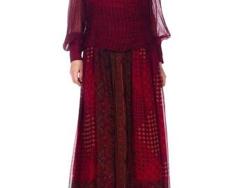 1970s Enrico Gelini Chiffon Medallion Print Dress Size: M