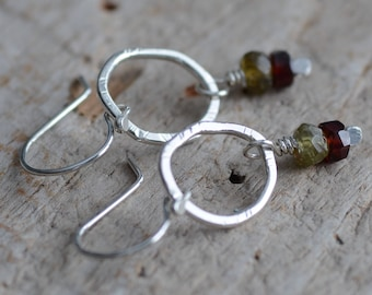Red and Green Garnet Gemstone Earrings Hand Forged Fine Silver Organic Hoops Textured Rings January Birthstone Jewelry Dangle Earrings
