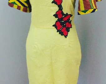African print dress with fringe