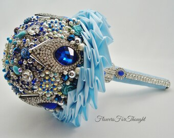 Beach Wedding Brooch Bouquet, Blue, Precious Wedding Keepsake Posy