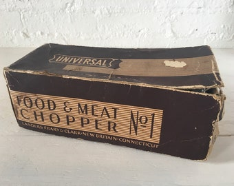 Antique Universal No. 1 Food & Meat Chopper with Long Handle and Original Box - traditional butcher grinder, charcuterie grinder