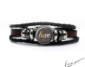 """Leather Bracelet """"Love"""" black/brown/white/gray with silver plated clasp + 1 Chunk Snap Button, snap button snap"""