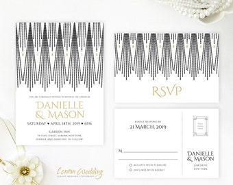 Black and gold wedding Invitation set printed on shimmer cardsstock | Gatsby themed wedding invites with RSVP postcards