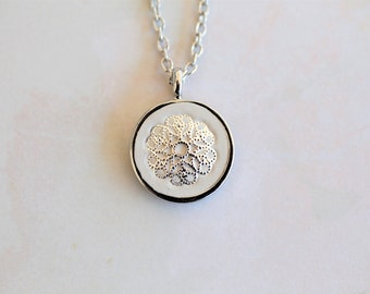Silver Cement Flower Necklace
