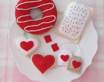 Felt Red & White Tea Party Set with Donut, Pastry, Heart Cookies, and Tea Bags
