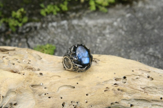 Sterling Silver Mens Labradorite Ring Thors