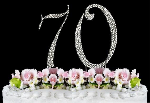 New Large Rhinestone NUMBER 70 Cake Topper 70th Birthday