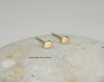 Tiny Gold Earrings 14K Gold Studs Minimalist Earrings Organic Earrings Gold Stud Earrings Simple Gold Earrings
