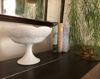 Milk Glass Compote with Harvest Design