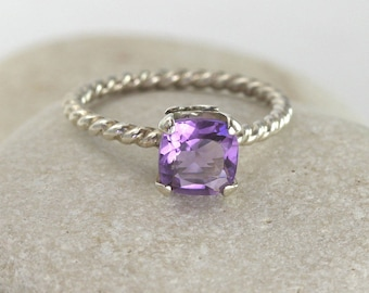Square Amethyst Ring in Sterling Silver, custom size silver amethyst ring
