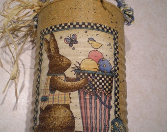 Decorative Tin - Easter Rabbit - Eggs - for Spring