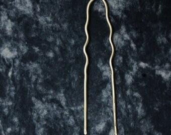 AMUR brass hair fork / oversized bun pin / minimal hair jewelry