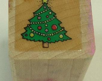 Christmas Tree Christmas Wood Mounted Rubber Stamp Holiday