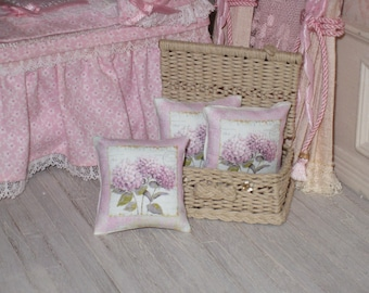1:12 Dollhouse PILLOW. PINK HORTENSIAS Pillow. 1 inch dollhouse scale.