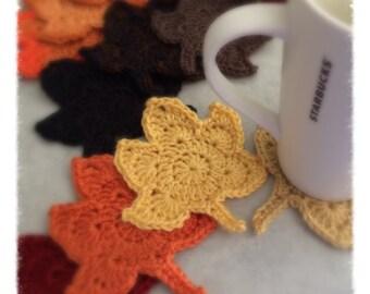 Autumn Leaves Coasters, Fall, Maple, Coffee