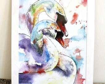Charles And Elizabeth The Swans Limited Edition A3 Painting Watercolour Colour Print