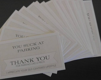 Bad Parking Note- 20 Business Cards