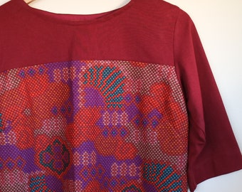 abstract geometric...autumn shift with pockets in vintage fabric