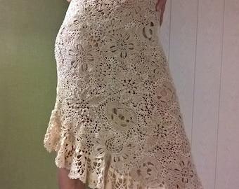 Dress crocheted. Irish lace, Irish knitting.