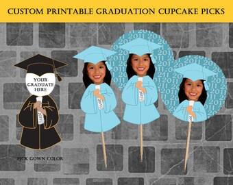 Custom Graduation Cupcake Picks (PIY - Print It Yourself)